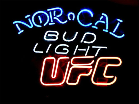NEON SIGN For BUD LIGHT NORCAL UFC    Signboard REAL GLASS BEER BAR PUB  display Restaurant  christmas Light Signs 17*14""