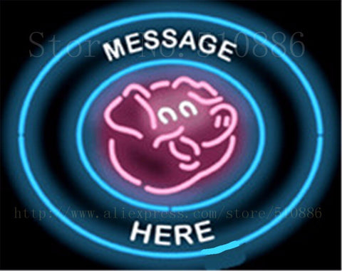 "Custom Message Pig Circular Meat Glass Tube neon sign Club Pub Handcrafted signs Beer Club Pub Bar Shop Store Signage 18""x18"""
