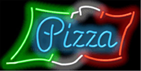 Pizza with Flag NEON SIGN REAL GLASS BEER BAR PUB LIGHT SIGNS store display Restaurant shop food diet Advertising Lights 17*14""