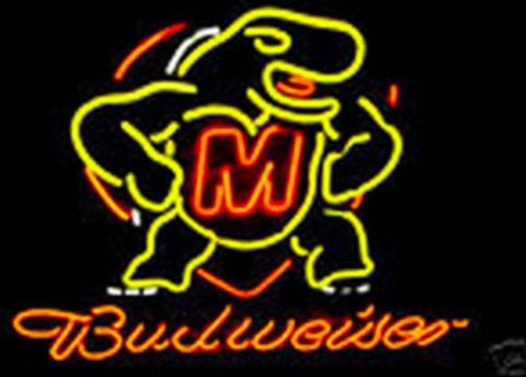 Business Custom NEON SIGN board For NCAA College Maryland Budweiser REAL GLASS Tube BEER BAR PUB Club Shop Light Signs 16*15""