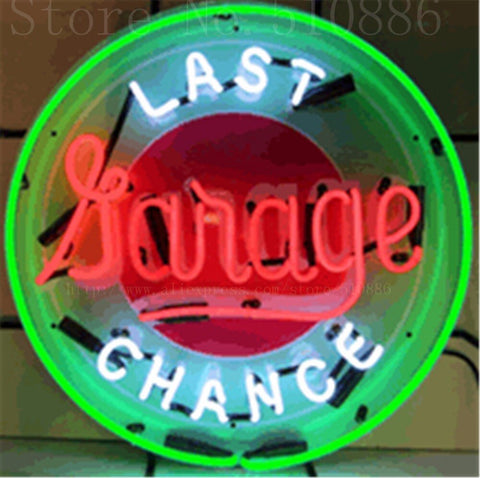 "Last Chance Garage Car Real Glass Tube neon sign Beer Club Pub Handcrafted Automotive signs Shop Store Signage Signage 18""x18"""