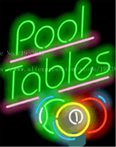 Pool Tables with Balls Game NEON SIGN REAL GLASS BEER BAR PUB LIGHT SIGNS store display Bulbs Desserts Pastries Lights 19*15""