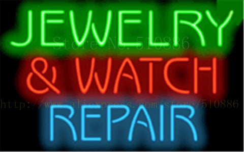 Jewelry & Watch Repair NEON SIGN REAL GLASS BEER BAR PUB LIGHT SIGNS display Accessory Pawn shop Advertising Light 17*14""