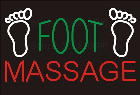 Custom NEON Sign Board Foot Massage Salon Glass Tube Party Bar Club Pub Display Store Shop Light Signboard Signage Signs 17*14""