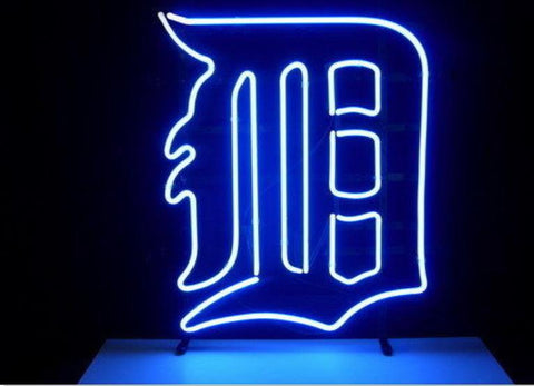 Business Custom NEON SIGN board For Basketball NBA Detroit Tigers REAL GLASS Tube BEER BAR PUB Club Shop Light Signs 15*13""