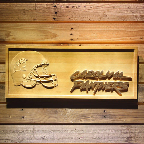 Carolina Panthers Helmet 3D Wooden Bar Sign