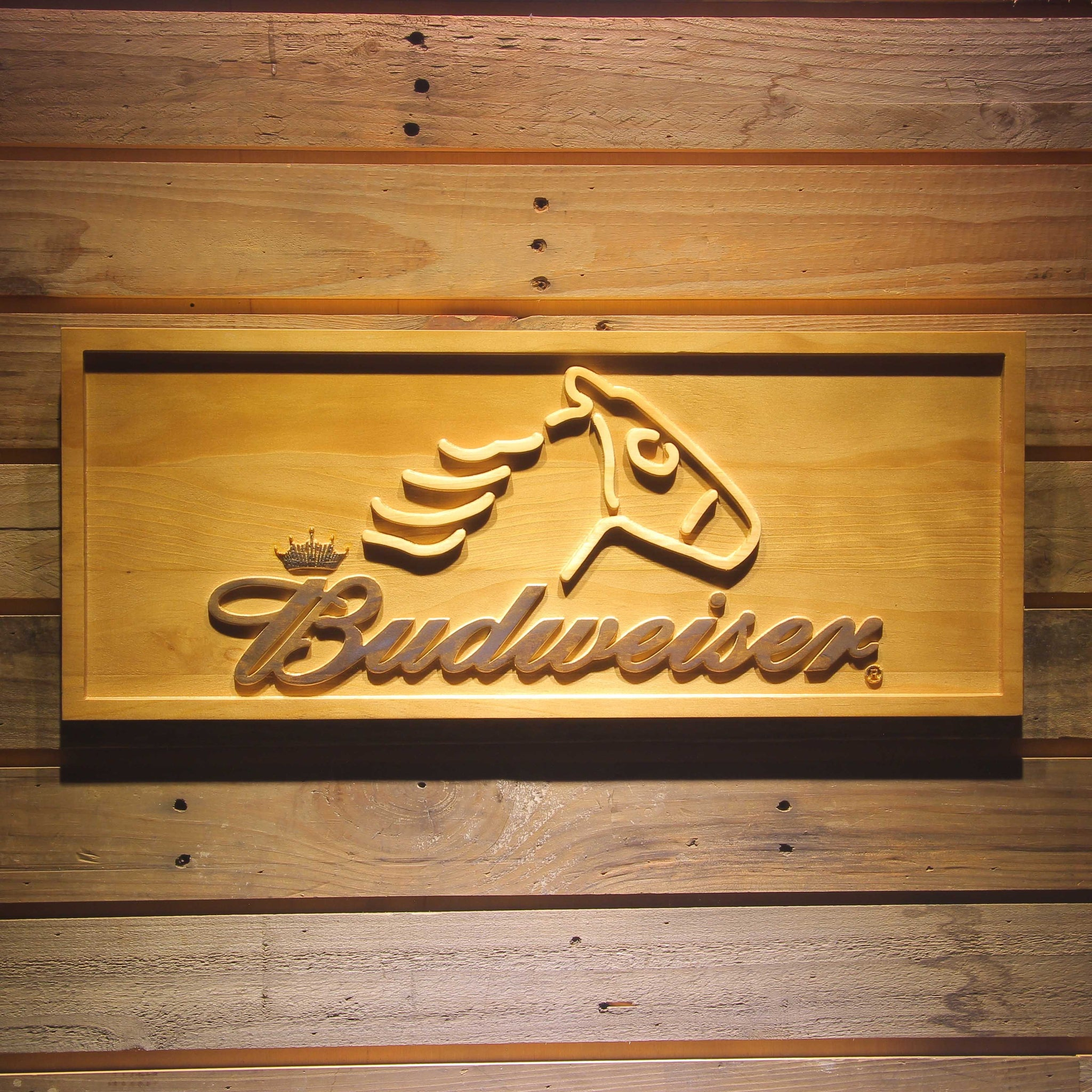 Budweiser Horse Head Beer 3D Wooden Bar Sign