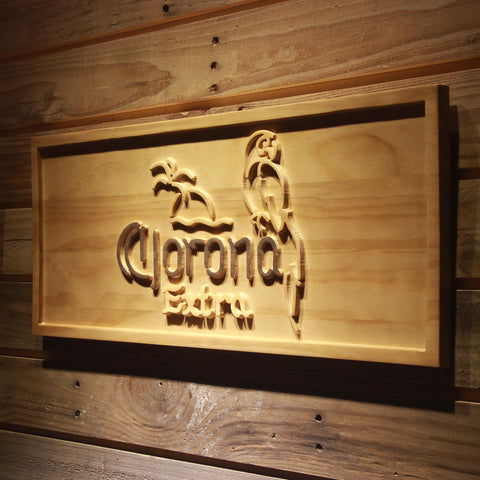 Corona Extra Parrot Beer 3D Wooden Sign