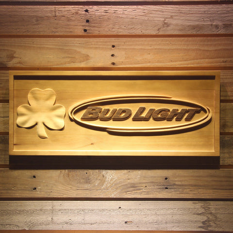 Bud Light Shamrock Beer 3D Wooden Bar Sign