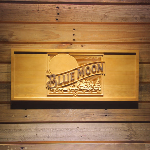 Blue Moon Beer Bar 3D Wooden Sign