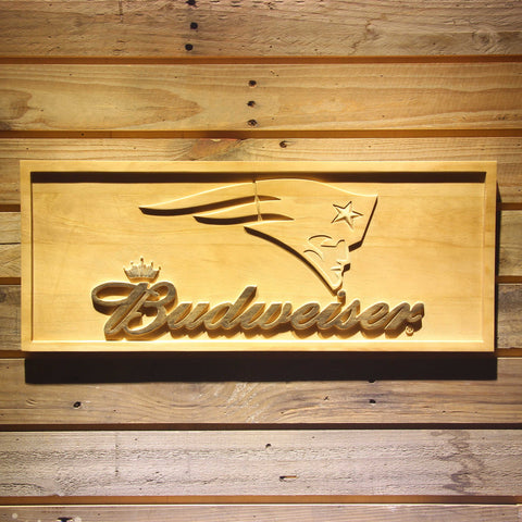 New England Patriots Budweiser Beer 3D Wooden Bar Sign