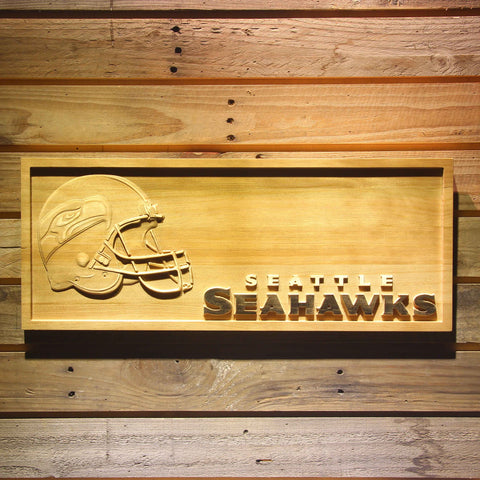 Seattle Seahawks Helmet 3D Wooden Bar Sign