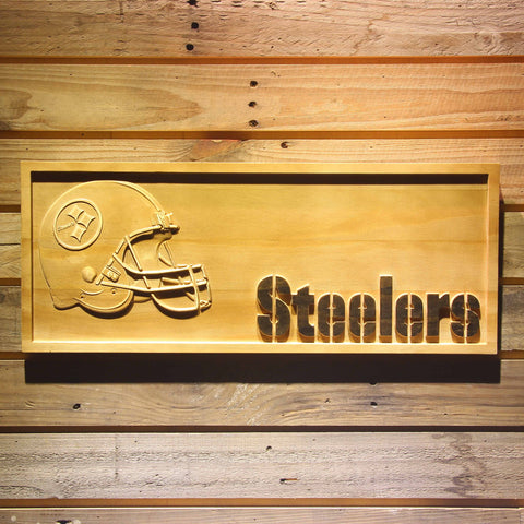 Pittsburgh Steelers Helmet 3D Wooden Bar Sign