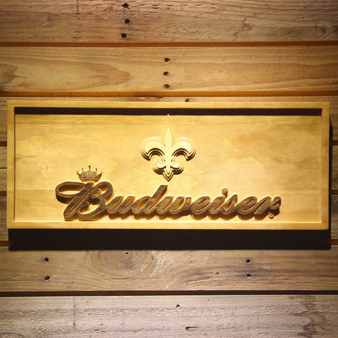 New Orleans Saints Budweiser Beer 3D Wooden Bar Sign