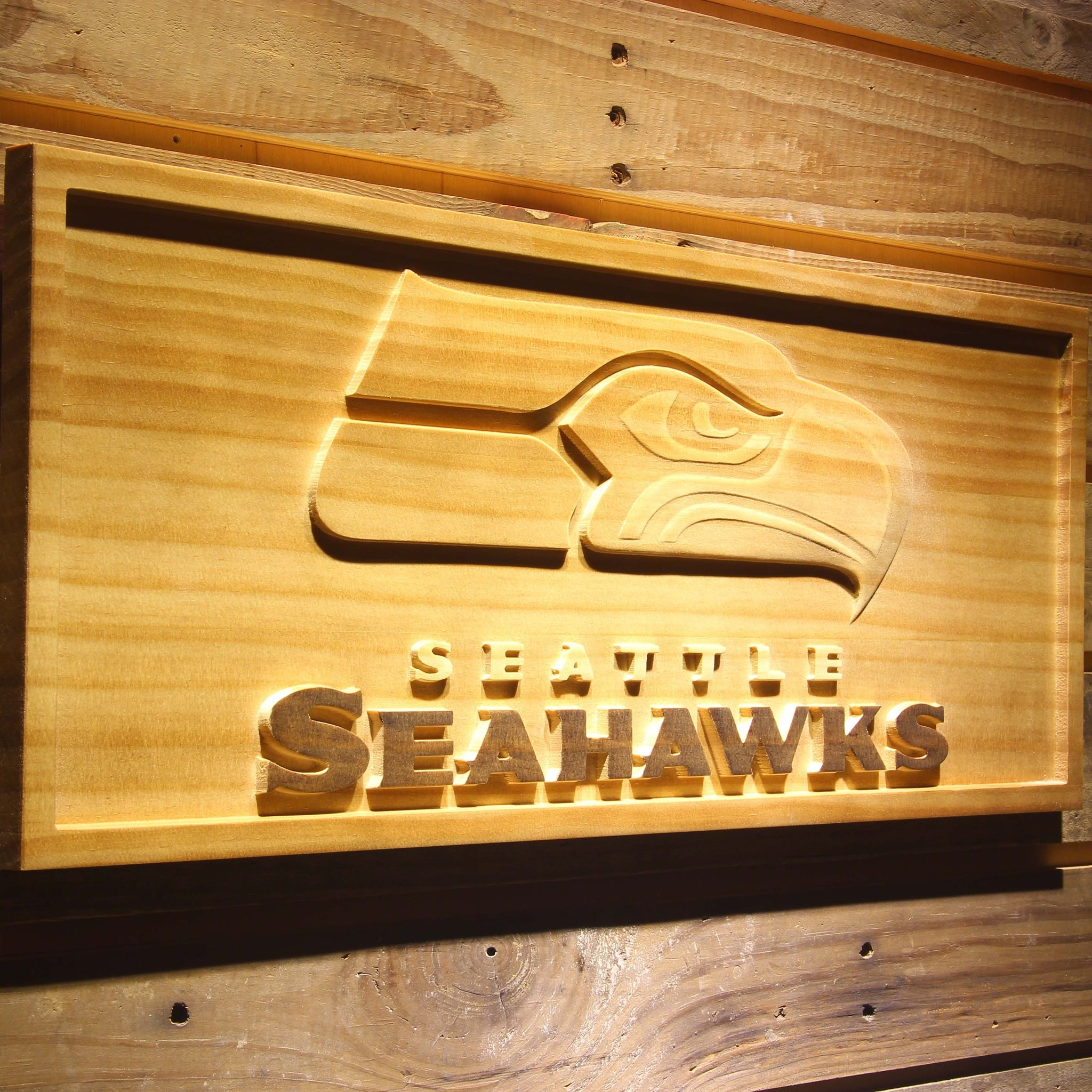 Seattle Seahawks Football Beer 3D Wooden Bar Sign