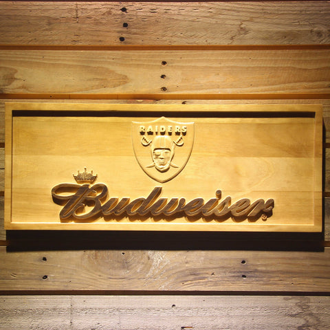 Oakland Raiders Budweiser Beer 3D Wooden Bar Sign