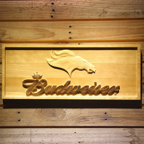 Denver Broncos Budweiser Beer 3D Wooden Bar Sign