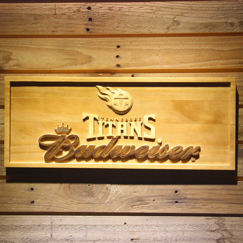 Tennessee Titans Budweiser Beer 3D Wooden Bar Sign