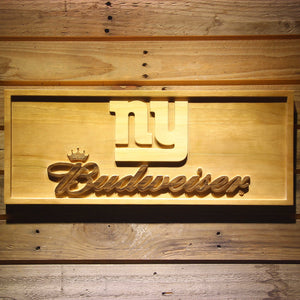 New York Giants Budweiser Beer 3D Wooden Bar Sign