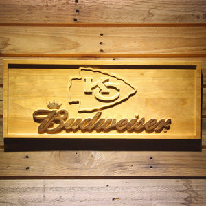Kansas City Chiefs Budweiser Beer 3D Wooden Bar Sign