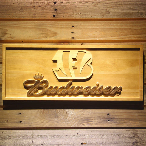 Cincinnati Bengals Budweiser Beer 3D Wooden Bar Sign