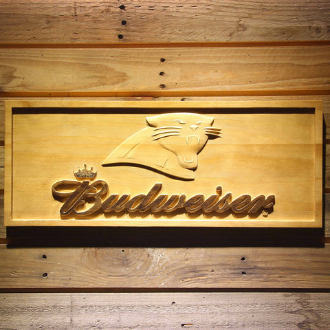 Carolina Panthers Budweiser Beer 3D Wooden Bar Sign