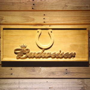 Indianapolis Colts Budweiser Beer 3D Wooden Bar Sign