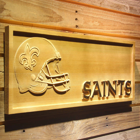 New Orleans Saints Helmet 3D Wooden Bar Sign