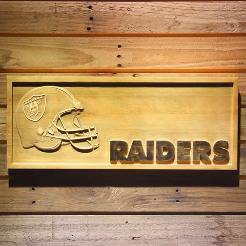 Oakland Raiders Helmet 3D Wooden Bar Sign