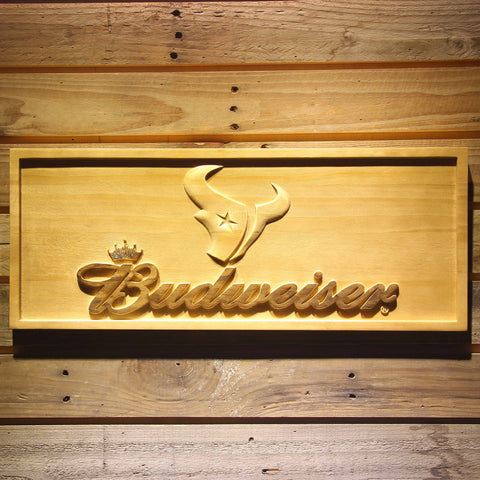 Houston Texans Budweiser Beer 3D Wooden Bar Sign
