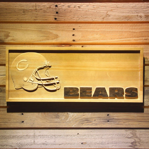Chicago Bears Helmet 3D Wooden Bar Sign