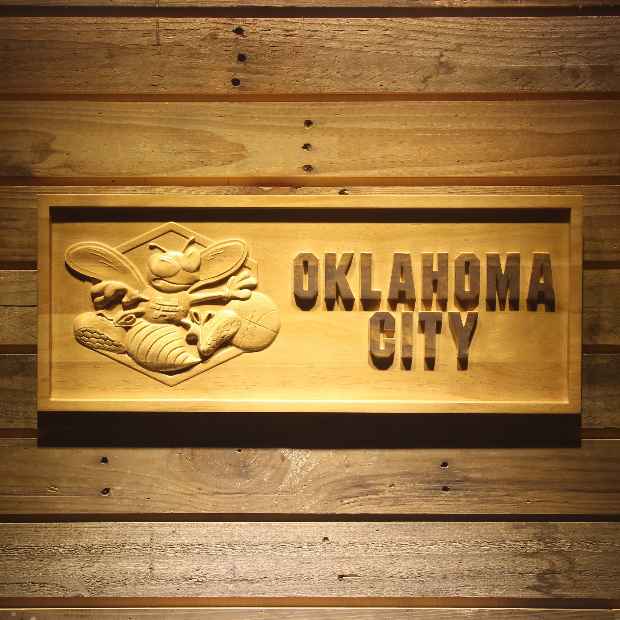Oklahoma City Hornets 3D Wooden Sign