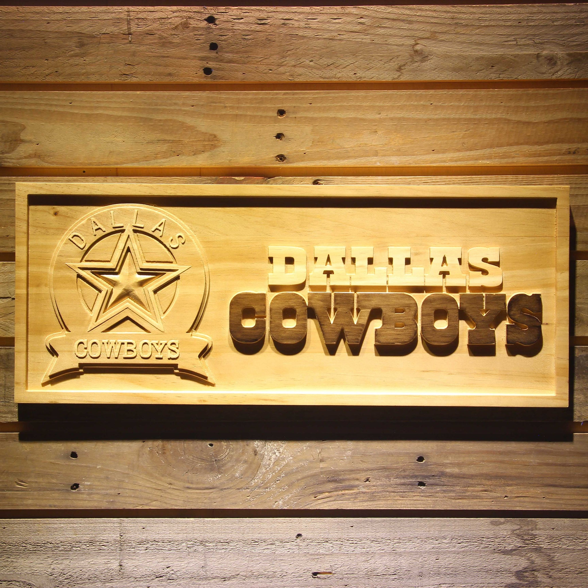 Dallas Cowboys Badge Beer 3D Wooden Bar Sign