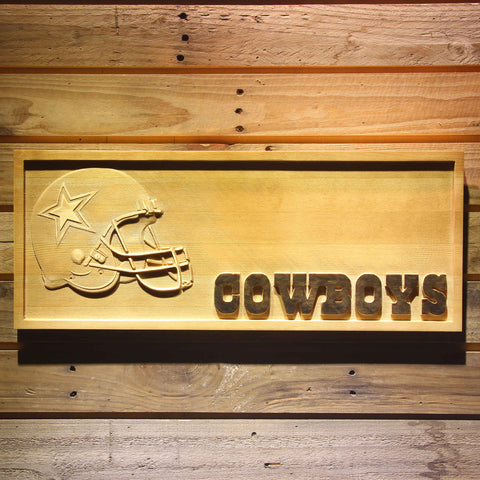 Dallas Cowboys Helmet 3D Wooden Bar Sign