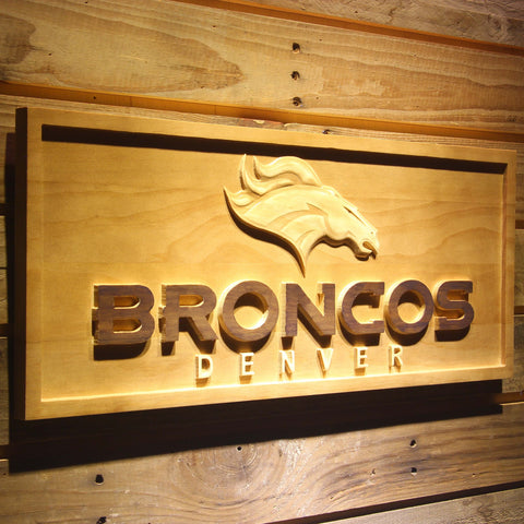 Denver Broncos 3D Wooden Sign