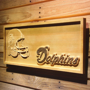Miami Dolphins Helmet 3D Wooden Bar Sign
