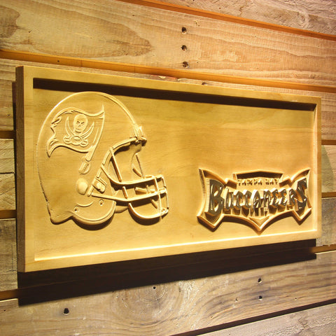 Tampa Bay Buccaneers Helmet 3D Wooden Bar Sign