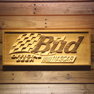 Bud x NASCAR Beer 3D Wooden Bar Sign
