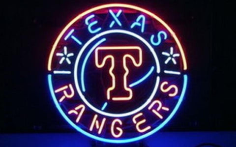 Business Custom NEON SIGN board For Baseball Texas Rangers REAL GLASS Tube BEER BAR PUB Club Shop Light Signs 15*15""