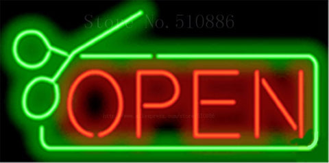 "Open with Scissors Border Glass Salon Tube neon sign Handcrafted signs Club Pub  Shop Store Business signage Signboard 17""x14"""