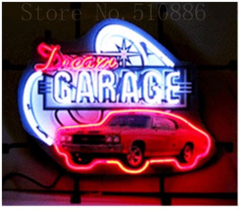 "Dream Garage Chevy Chevelle SS Glass Tube neon sign Handcrafted Automotive signs Shop Store Business Signboard signage 17""x14"""