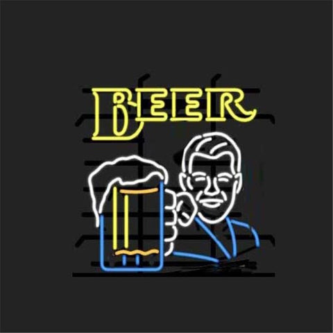 "17*14""BEER MAN  NEON SIGN Signboard REAL GLASS BEER BAR PUB  Billiards display  Restaurant  Shop christmas Light Signs"