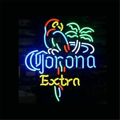 "17*14"" CORONA EXTRA PARROT Cocktails Hot Dog  ROLLING STONES NEON SIGN Signboard REAL GLASS BEER BAR PUB Light Signs"