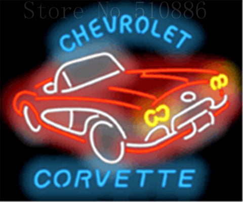 "Chevrolet Corvette 1950's Glass Tube Car neon sign Businese Handcrafted Automotive Shop Store Signs Signboard Signage 19""x15"""