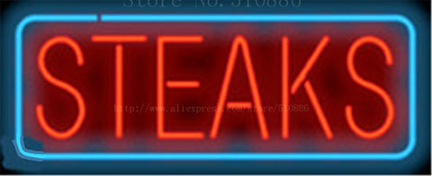 Steaks NEON SIGN Real GLASS Tube Beer PUB Restaurant Signboard store display Decorate Shop food  ice cream Light Signs 17*14""