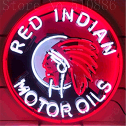"Red Indian Motor Oils Glass Tube neon sign Handcrafted Automotive signs Beer Club Pub Shop Store Signage Signage 18""x18"""