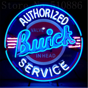 "Buick with Silkscreened Backing Real Glass Tube Car neon sign Handcrafted Automotive signs Shop Store Business Signboard 24""x24"""