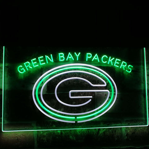 Green Bay Packers Football Bar Decor Dual Color Led Neon Sign st6-b2042