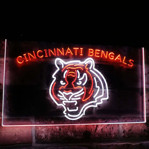 Cincinnati Bengals Football Bar Decor Dual Color Led Neon Sign st6-b2037