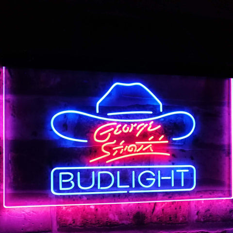 George Strait Bud Light Music Beer Bar Decor Dual Color Led Neon Sign st6-a2116